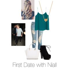 First date with Niall by kaylee-schroeder on Polyvore featuring polyvore, fashion, style, MANGO, Frame Denim and Minnie Grace