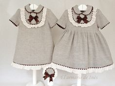 El armario de Inés Beautiful for fall and easy to duplicate (A-line dress or Basic bodice with full skirt adding the peter pan collar and the round yoke, lace and rick-rack)