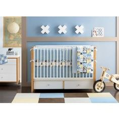 trendy boy bedding | Blue Elephant Nursery Decor Helps Baby Boys Sleep | weeDECOR