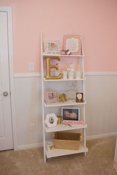 Emersyn's Pink and Gold Nursery is part of Baby girl nursery pink - Emersyn's Pink and Gold Nursery NurseryBookshelf Girl Pink Gold Bedroom, Pink Gold Nursery, Baby Girl Nursery Pink And Grey, Baby Bedroom, Nursery Room, Nursery Bookshelf, Book Shelf For Nursery, Bookshelves Kids, Bookshelf Ideas