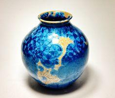 Crystalline Glaze Vase Round Bottle Royal Blue Home Decor Wedding Anniversary Housewarming Gift  Gift Porcelain Ceramic Clay Pottery