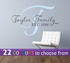 Personalised two colour ANY FAMILY name wall sticker art decal, custom surname…