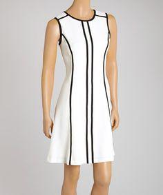 Love this Ivory & Black Sleeveless Sheath Dress - Women & Plus by Sandra Darren on #zulily! #zulilyfinds