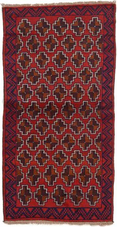 Red 3' 4 x 6' 4 Balouch Persian Rug | Area Rugs | iRugs UK