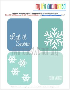 """Free Printable Project Life Journal Cards """"Let It Snow"""" on My Life Documented Monday @ AVirtuousWoman.org"""