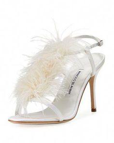 0d05fdf841 Manolo Blahnik Elia Feather T-Strap 105mm Sandal #ManoloblahnikHeels Open  Toe Shoes, T
