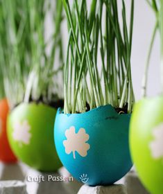 DIY | Colorful Easter Egg Planters | Free Pattern & Tutorial at CraftPassion.com