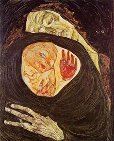 Dead Mother, 1910 by Egon Schiele. Expressionism. symbolic painting. Private Collection