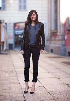 Emmanuelle Alt, leather blazer, tee, black pants, via Stockholm Streetstyle