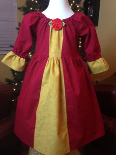 Disney Princess Dress  Belle Inspired Christmas by Theresafeller, $48.00