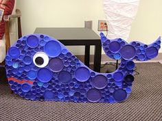 whale made with plastic bottle caps
