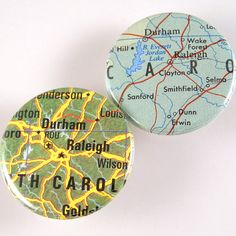 Raleigh / Durham Map Pinback Buttons by XOHandworks $3