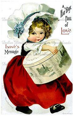 A Hatbox Full Of Love Vintage Valentine Postcard by PicsAgogo