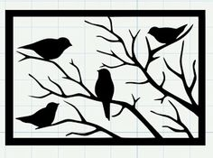Birds on branch svg Silhouette SVG Vector for Cricut Space