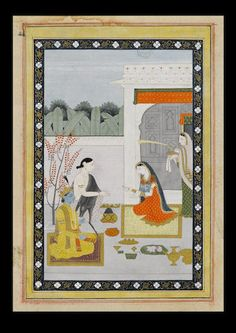 Radha offering pan to Krishna and Balarama, kneeling before them in a pavilion preparing betel leaves, an attendant standing to the right waving a morchal Guler, circa 1820