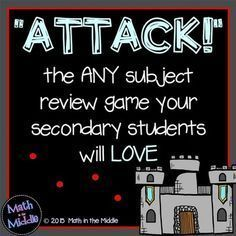 """Play """"Attack"""" with your students! It's a review game that can be used in any subject that your middle school students will be begging to play! FREE instructions Middle School Classroom, Middle School Science, Math Classroom, Classroom Ideas, History Classroom, Teaching Strategies, Teaching Math, Teaching Resources, Teaching Ideas"""