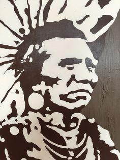 """""""Indian Chief III"""" by Maria Fosli 70x70 acrylic"""