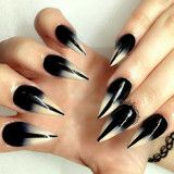 Creative black and white ombre nails