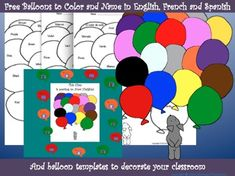 Free English, French and Spanish sheets to color and Pepper's colorful balloon sheet to name the colors in your target language.Decorate your classroom door or bulletin board with Pepper's balloon picture and Pepper's individual balloons printed on colored paper with students' names and photos.The documents are in PDF and Word so you can edit them!