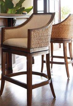 Tropical design seagrass bar stools...    ᘡղbᘠ