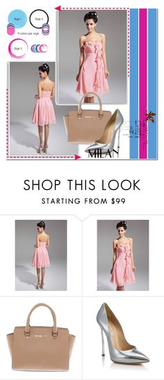 """Candy Pink Empire Sweetheart Knee Length Chiffon Homecoming Dress Flowers Cascading Ruffles HD000316"" by harrydress ❤ liked on Polyvore featuring Michael Kors and Casadei"