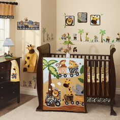 Safari Express Brown/Beige Animal Train 9 Piece Baby Nursery Crib Bedding  Set