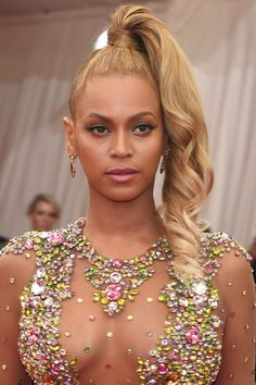 Side ponytails made appearances on the Fall 2015 runways, but we have a feeling Bey is going to be the only one responsible for bringing the style back after tonight.   - HarpersBAZAAR.com