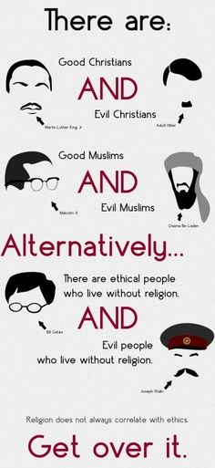 I'm an atheist, but I do believe that you can be a good or a bad person regardless of your faith