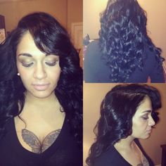 Sew in with minimal leave out and wand curls. @hairdesignbytay