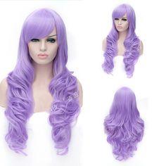 Free Shipping New Fashion 80cm Long Wavy Curly Light Purple Cosplay Wig Hatsune Miku Show By Rock!! Chuchu Cosplay