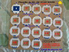 hama beads Plantilla de R2-D2 STAR WARS Tablero nº 1 son 2 tableros
