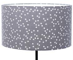 Abat-jour en tissu gris étoiles blanches Ø35 / hauteur: 20cm : Luminaires par lampbar