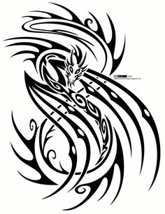 Tribal Dragon Tattoos | Tribal dragon tattoo design Tattoos | tattoos picture tribal dragon tattoo
