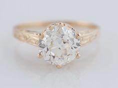 Filigree Jewelers :: Antique Engagement Ring Art Deco 1.74ct Old European Cut Diamond in Vintage 14k Yellow Gold. Minneapolis, MN
