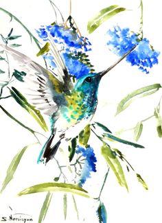 Hummingbird Original watercolor painting 12 X 9 in by ORIGINALONLY, $26.00