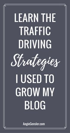 Trying to grow your blog? Learn the traffic driving strategies I use to grow my blog in this blog traffic report. via @angiegensler