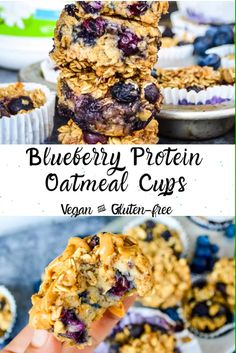 Blueberry Protein Oatmeal Cups are a great make-ahead breakfast and a perfect healthy snack between meals to keep you satisfied. They are vegan, gluten-free, and delicious! Blueberry Protein Muffins, Healthy Muffins, Vegan Blueberry Recipes, Chocolate Protein Muffins, Protein Cake, Protein Cookies, Vegan Snacks, Snack Recipes, Healthy Recipes