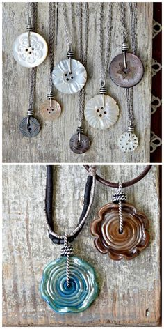 DIY Wire Wrapped Button Necklace by Cindy Wimmer for Craftsy. This is such a go… DIY Wire Wrapped Button Necklace by Cindy Wimmer for Craftsy. Wire Jewelry, Jewelry Crafts, Jewelry Art, Beaded Jewelry, Jewelery, Vintage Jewelry, Handmade Jewelry, Diy Jewelry Charms, Jewelry Ideas