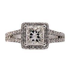 Vintage Engagement Sylvie Square Halo .74ct Princess Cut Diamond 14k Ring
