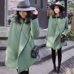 Women Loose Thick Green Woolen Cape Coat