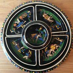 Rare 1940s Mexican Black Tlaquepaque Platter Lazy Susan Sectioned Server Large