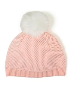Accessories Blush Pom-Pom Sweater Beanie by Janie and Jack. Her go-to beanie  when temperatures drop. Detailed with textured knit and plush pom-pom. d66869db77ef