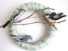 bird lovers yarn wreath