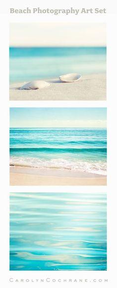 Beach Photography Prints Set by CarolynCochrane.com   Aqua Coastal Ocean Wall Art
