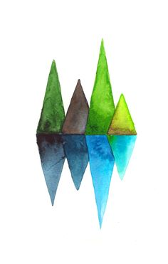 watercolor / mountains / abstract / geometry / inspired