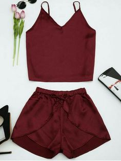 Satin Two Piece Suits (Wine red) Summer Outfits, Casual Outfits, Cute Outfits, Fashion Outfits, Cute Sleepwear, Loungewear, Mode Rockabilly, Pajama Outfits, Cute Pajamas