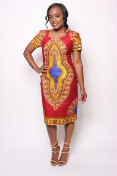 Robe rouge Dashiki par Chenayii sur Etsy African Dashiki Dress, African Print Jumpsuit, African Maxi Dresses, Latest African Fashion Dresses, African Dresses For Women, African Attire, African Wear, Seshweshwe Dresses, Chitenge Outfits