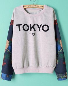 Shop Grey Contrast Floral Long Sleeve TOKYO Print Sweatshirt online. SheIn offers Grey Contrast Floral Long Sleeve TOKYO Print Sweatshirt & more to fit your fashionable needs.