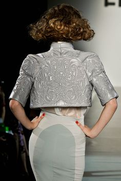 Baroque storm grey leather embroidery on crop jacket by Nabil Nayal. Worn by Lady Gaga for French television TF1.