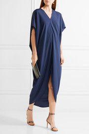 Riviera draped crepe de chine dress
